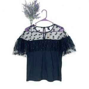 NEW J.Crew Black Puff Sleeve Starry Tulle Top
